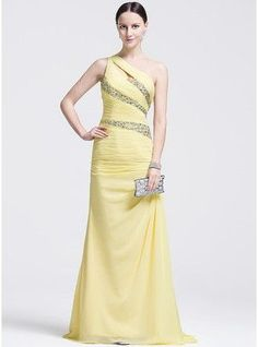 Trumpet Mermaid One Shoulder Sweep Train Chiffon Prom Dress With Ruffle Beading Sequins