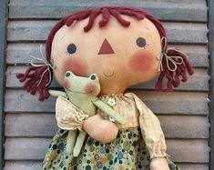 Froggie Ann primitive raggedy doll ePattern - PDF