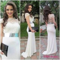 White Prom Dresses,Lace Prom Dress,White Prom Gown,Prom Gowns,Elegant Evening Dress,Modest Evening Gowns,Sexy Party Gowns,2018 Prom Dress PD20184266