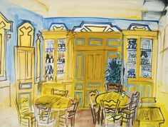 Café Scene - Raoul Dufy, circa 1934.  Watercolour and gouache on paper.