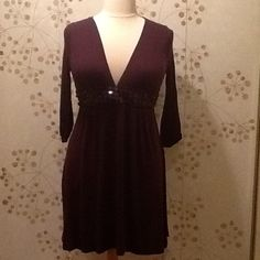 Cute Party Dress Deep dark  burgundy stretch jersey.  Plunging V neckline, empire waistband with burgundy flat faceted beads. 3/4 sleeves. Forever 21 Dresses Prom