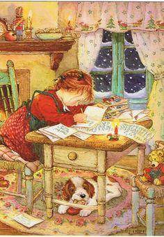 Illustration by Lisi Martin Vintage Christmas Images, Christmas Pictures, Christmas Scenes, Christmas Art, Christmas Illustration, Illustration Art, Christmas Paintings, Vintage Pictures, Vintage Postcards