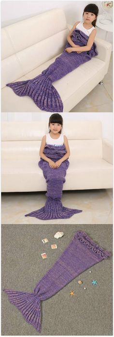 Mixture Crocheted / Knited Mermaid Tail Blanket for kids #It has 10% off now ,the coupon code is :TIFFANY10