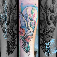 Tattoo Artist: Amy C Nicholls Swan tattoo. Swan and flowers