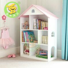 This Liberty House Toys Wooden Dollhouse Bookcase is a timeless piece of furniture for your child's bedroom or playroom as it features plenty of storage with a classic pink and white finish. Dollhouse Bookcase, Kids Bookcase, Dollhouse Toys, Wooden Dollhouse, Toddler Bookcase, Wooden Bookcase, Bedroom Bookshelf, Childrens Bookcase, Nursery Shelves