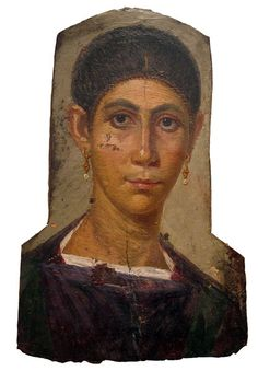 Mummy Portrait of a Woman with Earrings, Roman Egypt, probably from Antinoopolis, CE. Ancient Rome, Ancient Art, Ancient History, Egyptian Mummies, Egyptian Art, Fresco, Roman Hairstyles, Art Romain, Rome Antique