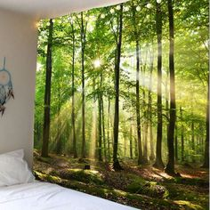 Forest Sunlight Decorative Wall Tapestry - Decoration For Home Inspire Me Home Decor, Art Mural, Wall Murals, Blanket On Wall, Wall Blankets, Cheap Wall Tapestries, 3d Fantasy, Home Wall Decor, Tapestry Wall Hanging