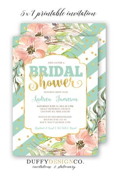 Bridal Shower Invitation, Bridal Brunch Invite, Pink/coral/peach/mint/gold 5x7 Personalized Digital Invitation, Spring floral bridal shower invitation by Duffy Design Co