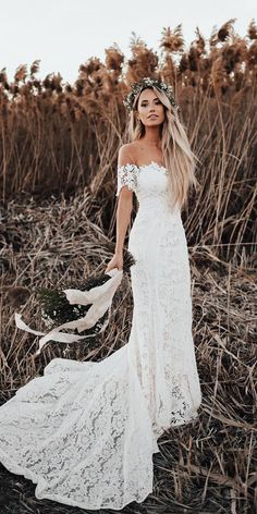 Off Shoulder Long Mermaid Lace Wedding Dresses, Country Wedding Dresse – Berryera Wedding Dresses For Maids, Boho Wedding Dress With Sleeves, Winter Wedding Outfits, Country Wedding Dresses, Lace Mermaid Wedding Dress, Cheap Wedding Dress, Dream Wedding Dresses, Wedding Dress Styles, Bridal Dresses