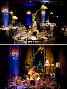 White, Silver and Purple Wedding at Hotel ZaZa - calla lilies and orchid centerpieces