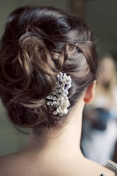Lovely updo with just a lil bling captured by Studio 33 Weddngs