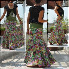 Maxi skirt -Exotic mermaid-  #naturaleeza #fashion #ethnic #clubnight