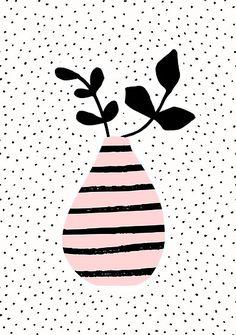 Um diese hübsche Vase mit rosa Streifen brauchst du dich überhaupt nicht kümmern - du kannst sie dir einfach an die Wand hängen! Den Print findest du bei Redbubble im Shop.