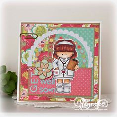 GET WELL SOON-Handmade Greeting Card by Jenn.
