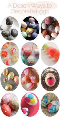 A dozen ways to decorate Easter eggs.
