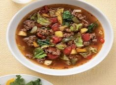 Cabbage Soup with Beef--This  high protein low carb soup recipe is flavored by beef and bacon (which also provide the protein), herbs, wine, and vegetables.