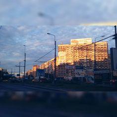 City lights.  Sunset.