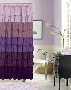 """Flamenco Ruffled Fabric Shower Curtain 72"""" wide x 72"""" long"""