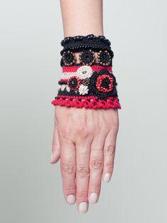 Bracelet Crochet Cuff In Black, Red, Beige With Flower Beads by SvetlanaCrochet on Etsy https://www.etsy.com/listing/235302799/bracelet-crochet-cuff-in-black-red-beige