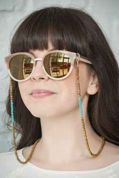 croakies beaded sunglass chain gold with teal by bijouxbeautique