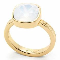 Coach   Square Stone Ring Gd Clear 7 $68.00 - Buy it here: https://www.lookmazing.com/products/show/3402433?shrid=46