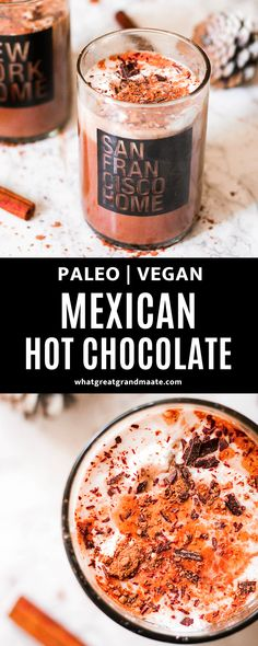 Rich and spicy Mexican hot chocolate! This is paleo and vegan, and I LOVE the hint of spice that comes through with the decadent chocolate. So easy to make, and one of my favorite festive dairy free drinks to curl up on the couch with on a chilly day. #paleo #vegan #dairyfree #hotchocolate #glutenfree Dark Chocolate Recipes, Mexican Hot Chocolate, Paleo Chocolate, Decadent Chocolate, Primal Recipes, Dairy Free Recipes, Gluten Free, Vegan Recipes, Healthy Drinks