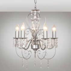 french ceiling lights | Vintage French Style Silver Effect 5 Way Chandelier Ceiling Light from ...
