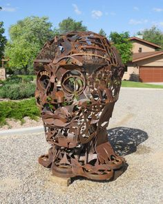 """""""God of the Machines"""" (Affectionately known as Hugo) by Pavia Justinian 72"""" x 48"""" x 48"""" Steel  2014 SOLD"""
