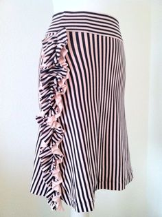 Striped Ruffle Skirt 1X 2X 3X by DaintyButton on Etsy, $31.95.... This skirt is so awesome!!! I want!!!