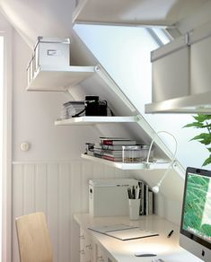 Furniture, Bookshelf And File Cabinet Storage Shelves On Sloping Wall Painted With White Wall Interior Color For Attic Home Office Ideas ~ White Home Office Desks