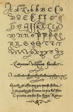 "A very old sample of lettering from the book, ""La operina di Ludouico Vicentino, da imparare di scriuere littera cancellarescha (1524)."""