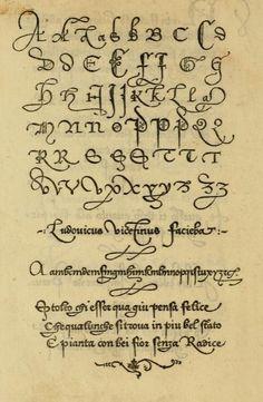 """A very old sample of lettering from the book, """"La operina di Ludouico Vicentino, da imparare di scriuere littera cancellarescha (1524)."""""""