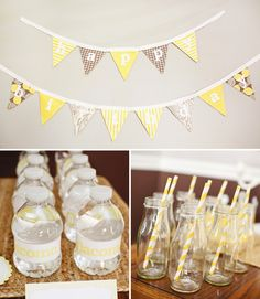 {Charming} Yellow & Gray First Birthday Party. Expands the theme from our baby shower!