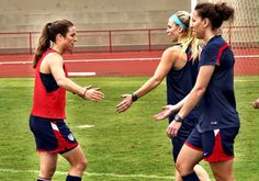 Kelley O'Hara, Julie Johnston, Lauren Holiday, training, Brasilia. (Twitter)