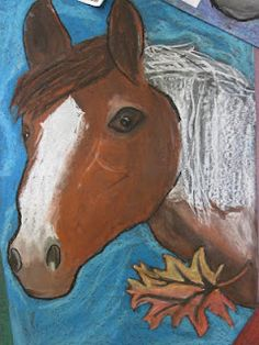 5th Grade Oil Pastel Horses - Rodeo Art Contest?
