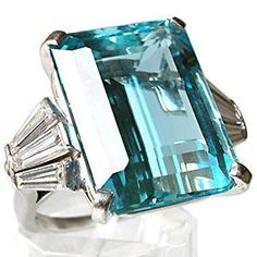 VINTAGE NATURAL AQUAMARINE & DIAMOND RING SOLID PLATINUM