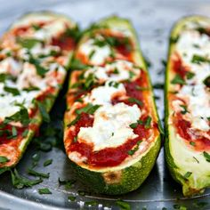 This Stuffed Zucchini with Goat Cheese & Marinara is fantastic and uses just 3 ingredients! Perfect for a fast and easy summer side dish.