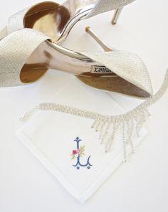Monogrammed Hemstitched Cotton Handkerchief, Personalized Handkerchief,  Bridal Handkerchief, Wedding Handkerchief