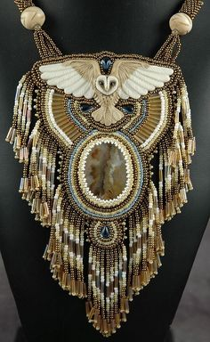 Laura Mears Barn Owl Owl Jewelry, Seed Bead Jewelry, Beaded Jewelry, Handmade Jewelry, Jewelry Design, Beaded Necklace, Jewellery, Owl Necklace, Tribal Necklace