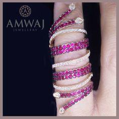 A stylish ruby and diamond ring with personality from Amwaj Jewellery Abu Dhabi.