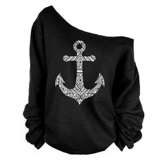 Fashion Anchor Print Skew Neck Sweatshirt T-shirt