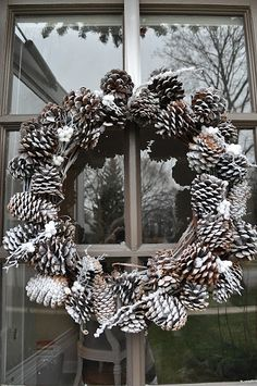 Easy winter wreath - and we have TONS of pine cones in our yard Pine Cone Crafts, Wreath Crafts, Diy Wreath, Door Wreaths, Wreath Ideas, Yarn Wreaths, Ribbon Wreaths, Tulle Wreath, Floral Wreaths