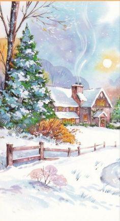Paesaggi Di Natale.904 Fantastiche Immagini Su Paesaggi Natalizi Illustrazioni