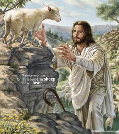 Jesus Christ coming for his sheep. Those of us who are saved are the sheep of the Lord Jesus Christ. I'm so proud to be a child of God. Lord Is My Shepherd, The Good Shepherd, Jesus Shepherd, Pictures Of Christ, Jesus Is Lord, Bible Art, Christian Art, Religious Art, Jesus Loves