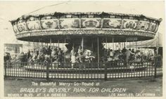 One of the very first photos of Beverly Park's carousel dated 1947. Kiddie land ran from the 1940s until 1974. Located in the corner of La Cienega and Beverly Blvd. Walt Disney came to this park often and it's been documented the park inspired him to build Disneyland.  #LindaMayProperties #LiveYourLuxury #LindaMay.com/VintageLosAngeles