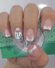 Manicure inspiration with cute decorations 017 Fabulous Nails, Perfect Nails, Gorgeous Nails, Love Nails, Pretty Nails, My Nails, Nagellack Design, Cute Nail Art, French Nails