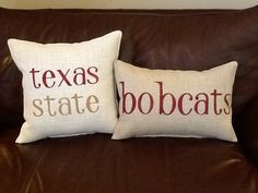 TEXAS STATE University Stenciled Pillow by BurlapPillowsEtc