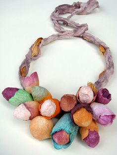 Multicolor Linen Necklace with Paper Flowers. Statement Necklace, Bib Necklace, Textile Jewelry. Boho, Hippie, Natural Style, Handmade, Made in