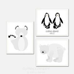 Arctic Animal Wall Art Print Set  Baby by PitterPatterPrint, $45.00