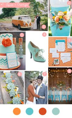 Aqua + Orange wedding inspiration board